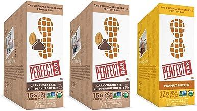 Perfect Bar Original Refrigerated Protein Bar, Dark Chocolate Chip Peanut Butter Variety Bundle, 2.3-2.5 Ounce Bar, 8 Coun...