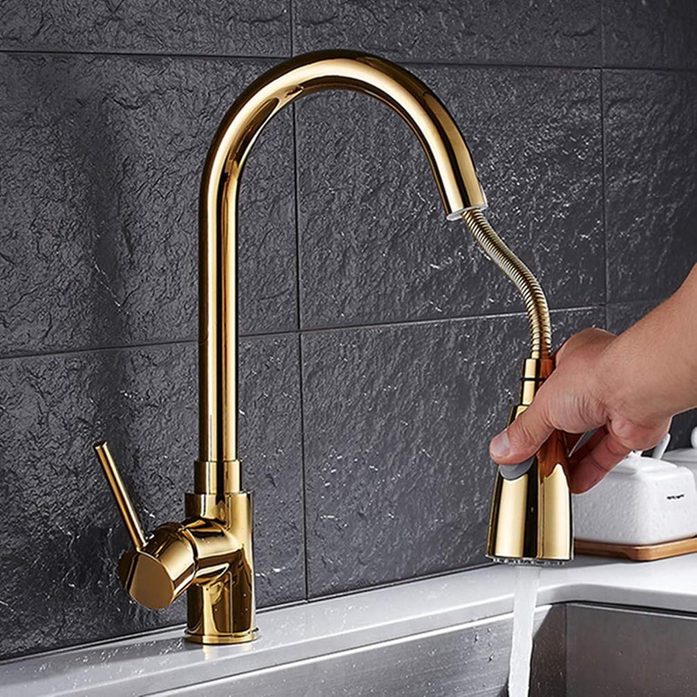 FZHLR Küchenarmaturen Einhand-Schwarz Golden Herausziehen Küchenarmatur Einzigen Loch-Handgriff Swivel 360 Grad-Wannen-Mischer-Hahn, Golden