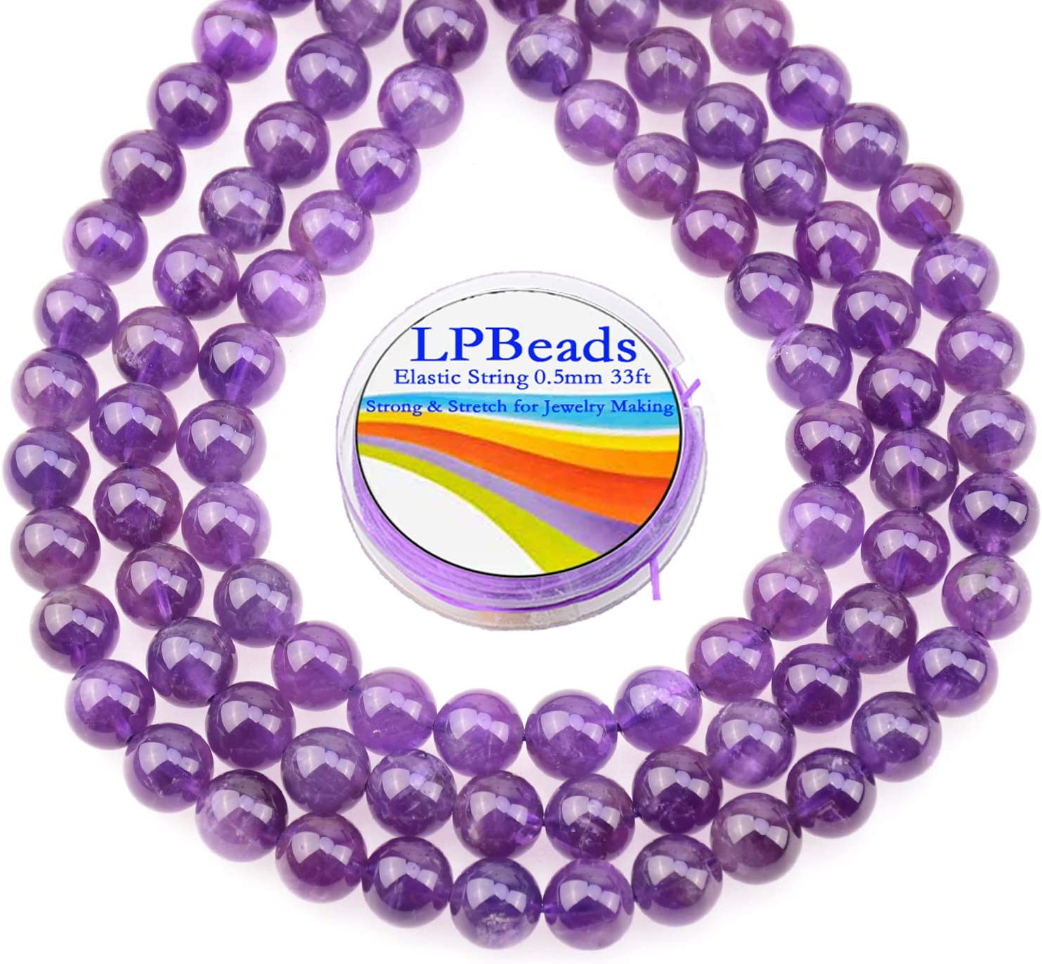 LPBeads Fort Worth Mall 80Pcs Polished 10mm Round Natural Loos Luxury Gemstone Amethyst