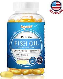 Spoonful Omega 3 Fish Oil Enteric Coated 2400mg, 200 Capsules, Rapid Release Softgel Capsules, Burpless, Made in USA, NSF-Certified