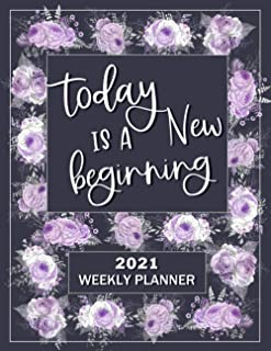 Today is a New Beginning Planner 2021: Gray with Lavender Style Weekly Planner 8.5 x 11, Other Styles Available (Pro Duck ...
