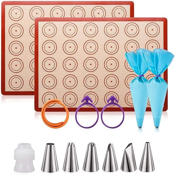 Silicone Baking Mat Macaron Mat Kit 14pcs Set Macaroon Baking Mat Set Of 2 Half Sheet Macaron Silicone Mat Nonstick Macaron Mat Sheet 6 Piping Tip 2 Piping Bag With 2 Bag Tie 1 Coupler 11 6 X16 5