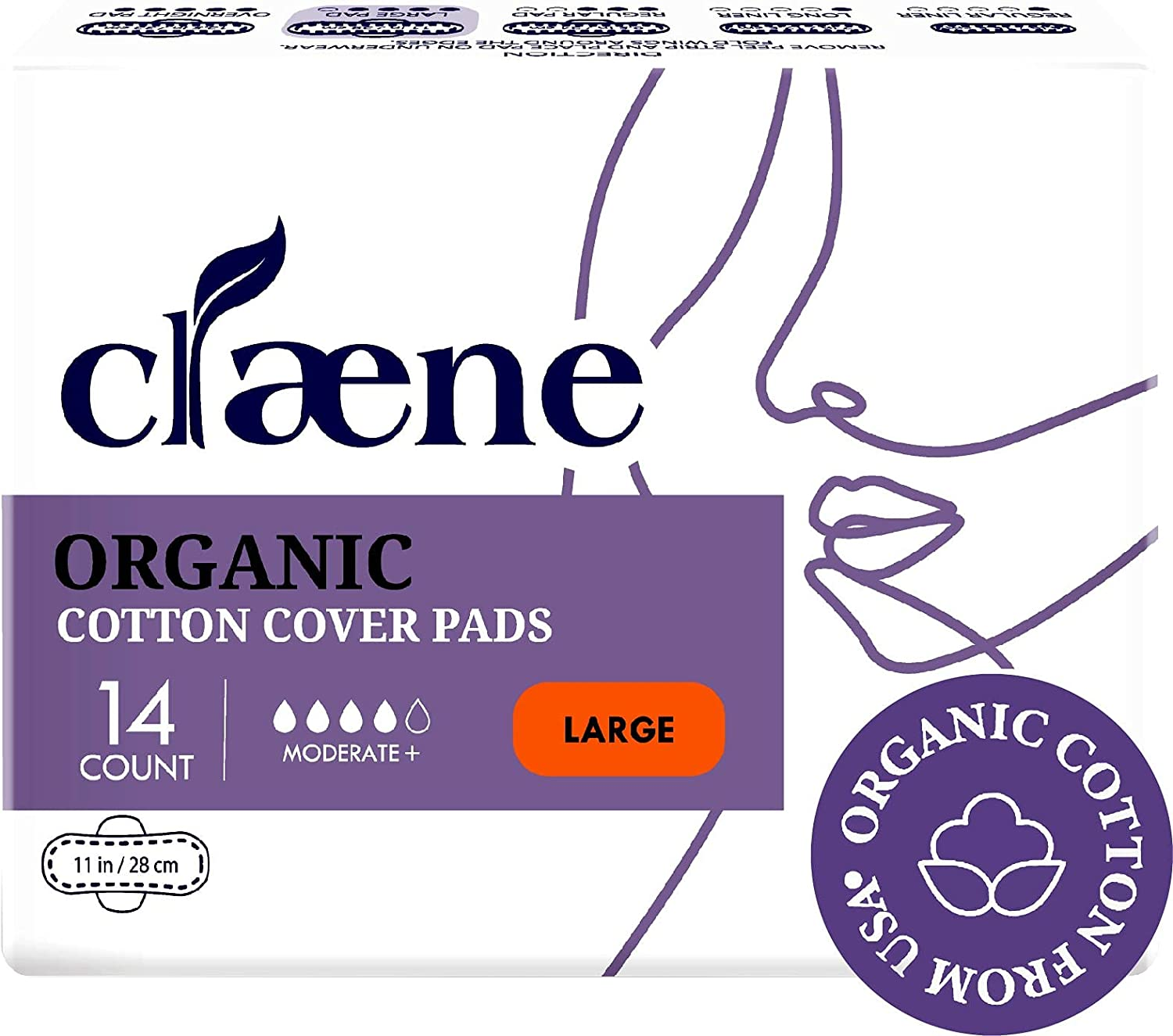 Great interest Claene Organic Directly managed store Cotton Cover Large Cruelty-Free Pads Menstrual