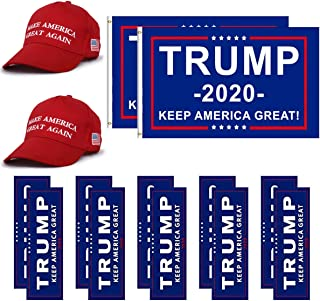 LITA Donald Trump Flag 2020 Trump Make America Great Again Hat and Keep America Great Bumper Stickers Car for Supporting President Trump-14 pcs