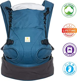 Nahbou 100% Organic Cotton Baby Carrier with Hip Seat - All Seasons, 360 Positions, Newborn Carrier to Toddler Up to 45 Lbs Free to Grow Baby Hip Seat Carrier Compact Ergonomic Breathable Backpack