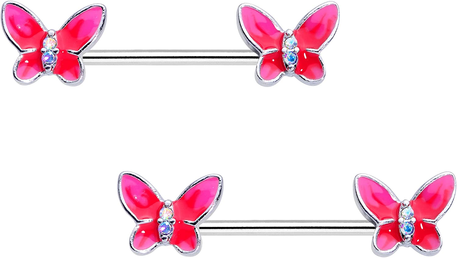 Body Candy Steel Aurora Accent Pink Butterfly Beauty Barbell Nipple Ring Set of 2 14 Gauge 3/8
