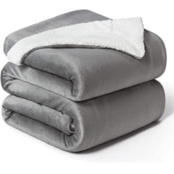Bedsure Manta Reversible de Franela/Sherpa 220x240cm - Manta para Cama 135/150 de 100% Microfibra Extra Suave - Manta de Felpa Gris