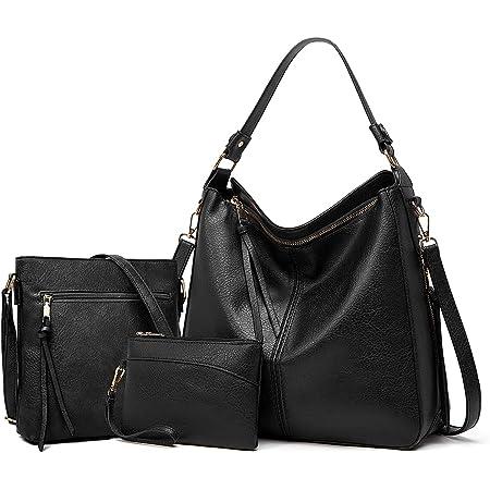 YTL Damen Handtasche Shopper Groß Schultertasche Umhängetasche Geldbörse 3-teiliges Hobo Damen Taschen Set für Büro Schule Einkauf Reise Geschenk SchwarzC