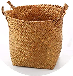 Fancy Girls picnic baskets Handmade Seagrass Storage Box Flower Pot Food Container Straw Patchwork Folk Crafts Laundry Wicker Rattan Garden Plant Organizer,Orange,Small
