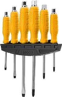 INGCO ドライバーセット 貫通ドライバー 6本組 工具セット 精密ドライバー 固定する 叩く(ブラケット付き) HSGTDC180601