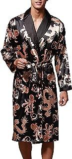 VERNASSA Mens Satin Robe Silk Long Sleeve Kimono Bathrobe Sleepwear Loungewear