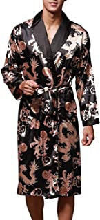 Mens Satin Robe Silk Long Sleeve Kimono Bathrobe Sleepwear Loungewear