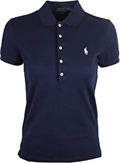 Ralph Lauren Polo Womens Slim Fit Mesh 5 Button Polo Shirt (Small, Navy (White Pony))