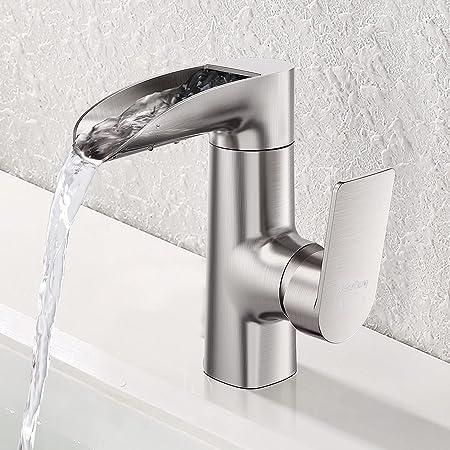 Waterfall Bathroom Faucet Single Handle - WaterSong Bathroom Basin Faucet Single Handle One Hole, Brushed Nickel Faucet for Bathroom Sink, Modern Vessel Faucet Deck Mount Vanity Faucet, 100% Lead-free