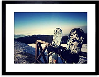 9x7 INCH PHOTOGRAPHY SPORT SNOWBOARDING SNOWBOARD SNOW COLD FRAMED WALL ART PRINT PICTURE PAINTING WOODEN PHOTO FRAME BLACK WHITE OAK BROWN F97X854