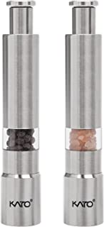 Kato Manual Salt and Pepper Grinder Set, Stainless Steel Thumb Push Mini Mill for Gourmet Home Restaurant Buffet, 2PC