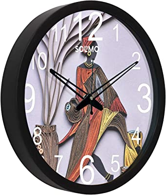 Amazon Brand - Solimo 12-inch Plastic & Glass Wall Clock - Anicent Lady (Silent Movement, Black Frame)