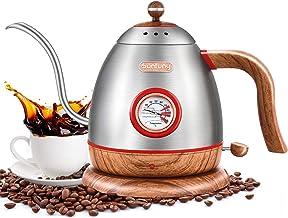 غلاية كهربائية من الستانلس ستيل بفوهة طويلة بشكل عنق الاوزة ونمط خشبي لتسخين وغلي القهوة تصلح كهدية مثالية بسعة 0.8 لتر