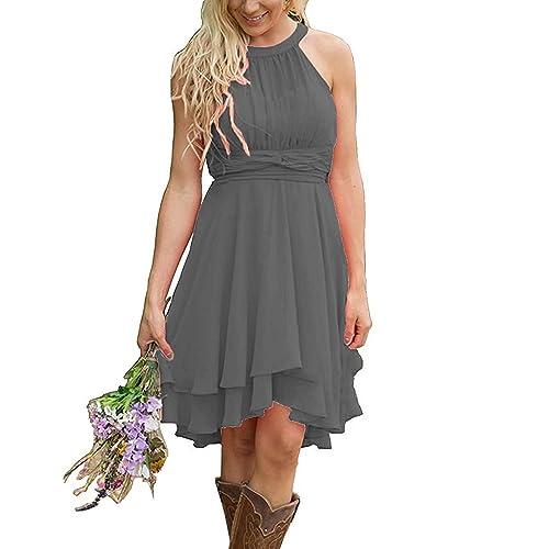 3269d192e14 Meledy Women s Knee Length Country Bridesmaid Dress Western Wedding Guest  Dress
