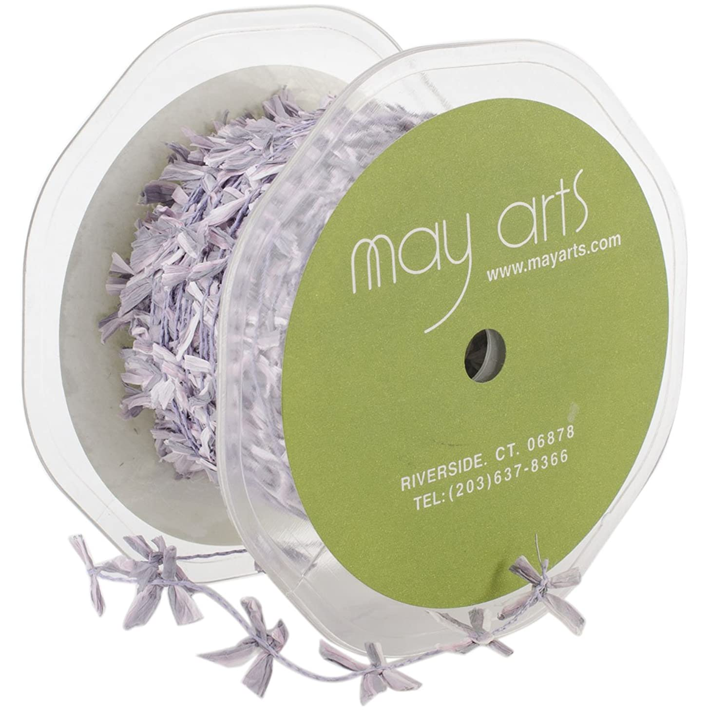 May Arts Wired String with Raffia Bows, 0.625-Inch by 50-Yard, Lavender