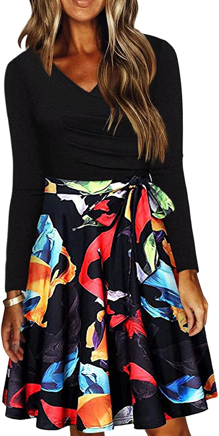ORT Dress for Women Casual Summer Sexy Print V Neck Short Sleeve Short Mini Backless Dress Cocktail Party Dress for Beach