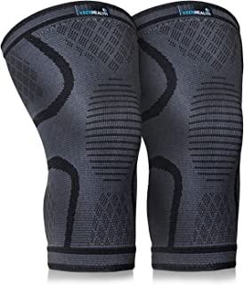 Keenhealth Compression Knee Brace (2Pack) - Knee Sleeve Pain Relief - for Arthritis,  ACL and MCL - Support for Gym,  Running,  Working Out and Sports - for Men and Women (Black,  L)