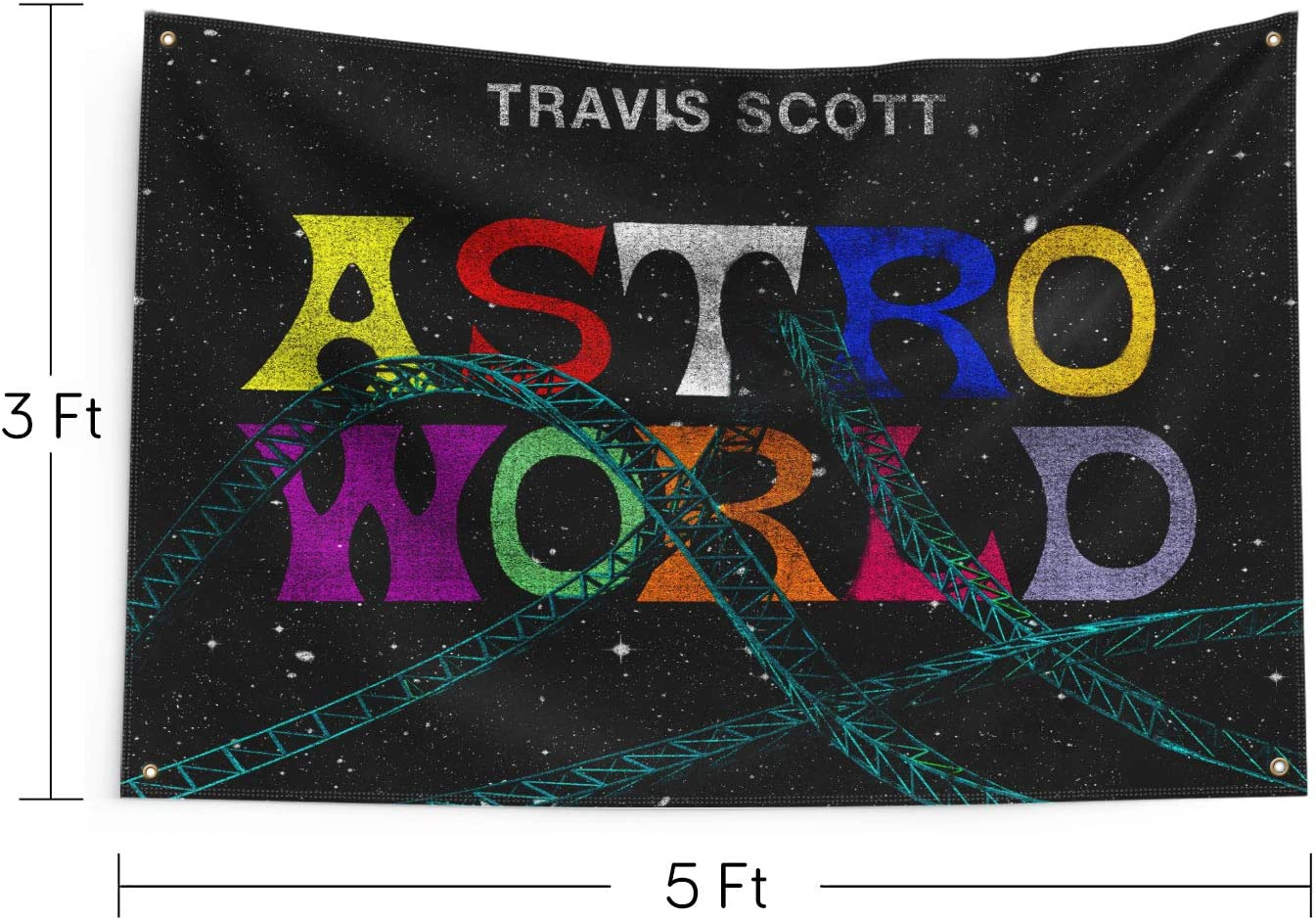 Astroworld Travis Scott Flag Funny Poster UV Resistance Fading /& Durable Man Cave Wall Flag Heavy Duty with Brass Grommets for College Dorm Room Decor,Outdoor,Parties,Gift,Tailgates 3x5Ft