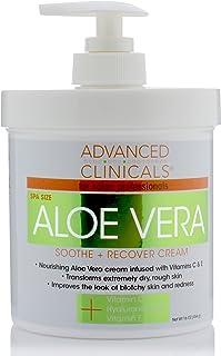 16oz Advanced Clinicals Aloe Vera Cream. Aloe Vera with Vitamin C, Hyaluronic Acid and Vitamin E cream for dry, rough skin...