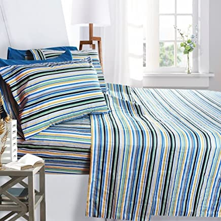 featured product Clara Clark Printed Bed Sheet Set,  Queen Size - Striped,  6 Piece Bed Sheet 100% Soft Brushed Microfiber,  with Deep Pocket Fitted Sheet,  1800 Luxury Bedding Collection,  Hypoallergenic,
