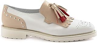 Pantofola da Donna Philosophy Bianca e Beige con Nappine - 6643 Pony Bianco - Taglia