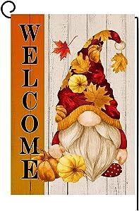 BLKWHT Welcome Fall Gnome Garden Flag Vertical Double Sided Autumn Halloween Thanksgiving Pumpkin Burlap Yard Outdoor Decor 12x18 Inches BW046