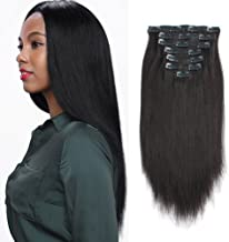 ABH AmazingBeauty Hair Real Remy Thick Yaki Straight Clip Ins Black Hair Extensions for African American Relaxed Hair 7 Pieces 120 Gram Per Set, 12 Inch