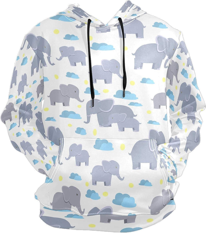 Men's Sport Hoodie Cute Elephant Cloud Sky Big and Tall Hoodies for Men Women Oversized Hooded Sweatshirt Hip Hop Pullover Hoodie Midweight Hood for Boys Girls