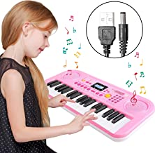 TWFRIC Kids Piano Keyboard, 37 Keys Dual-Speakers Piano for Kids LCD Screen Display Portable Keyboard 2019 Newest Piano Keyboards Music Educational Toy for Boys Girls Child (Pink)