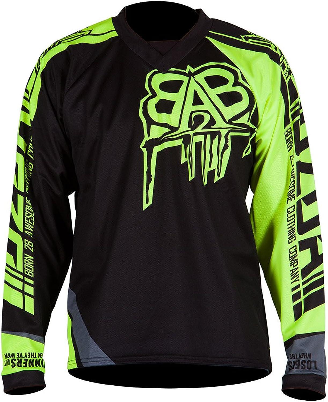 B2BA Clothing RACEWEAR Jersey Schwarz Neon Gelb für Mountainbike Downhill, Freeride und Enduro, schnelltrocknend, winddicht und atmungsaktiv, perfekt für MTB, BMX, Motocross MX, Quad Cross