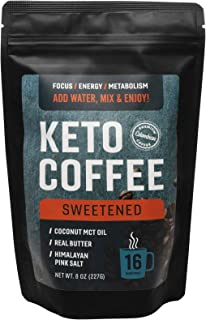 360 Nutrition Instant Keto Coffee | 8 oz, Sweetened | 16 Servings per bag | MCT Coconut Oil, Organic Grass-Fed Butter, Himalayan Sea Salt