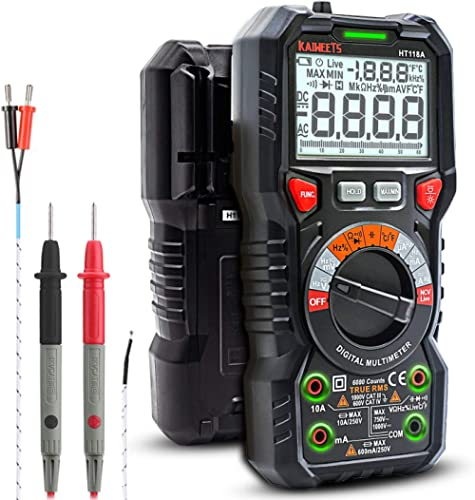 KAIWEETS Digital Multimeter TRMS 6000 Counts Ohmmeter Auto-Ranging Fast Accurately Measures Voltage Current Amp Resis...