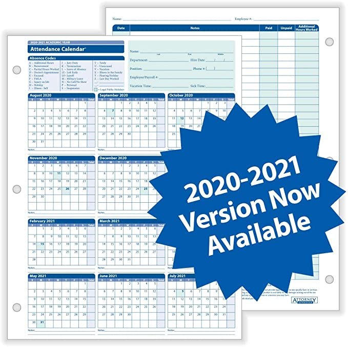 Annual Planning Set 2021 Including Year at a Glance and Attendance