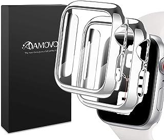 【光沢の2020改良モデル】AMOVO Apple Watch Series4/Series5/Series6/SeriesSE 44mm ケース 液晶全面保護カバー Apple Watch フィルム日本旭硝子材 PCフレーム 傷防止 Appl...