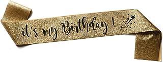 OMISS It's My Birthday - Glitter Gold Sash - Be The Most Beautiful for Your Birthday (Glitter Gold)
