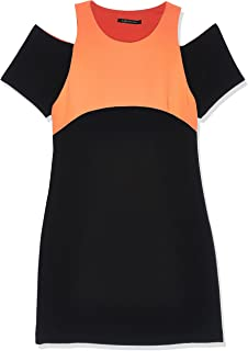 A|X Armani Exchange Women's Sleeveless Crew Neck Fit and Flare Dress/Color: Black & Orange, Size: 2