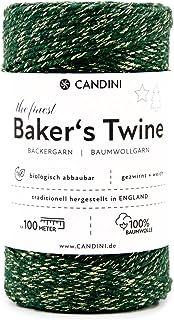 Candini Bäckergarn Gold Grün | 100m | weiches Bastelgarn aus Baumwolle - Premium Qualität aus England, zweifarbig - Bakers Twine, Bastelschnur, Baumwollschnur, Geschenkband