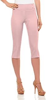Velucci Womens Classic Fit Capri Pants - Pull On Style...