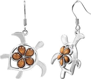 Sterling Silver Koa Wood Turtle with Plumeria Hook Earrings