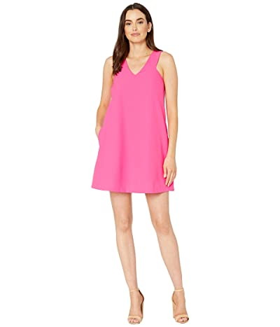 American Rose Hailey V-Neck Racerback Dress (Fuchsia) Women