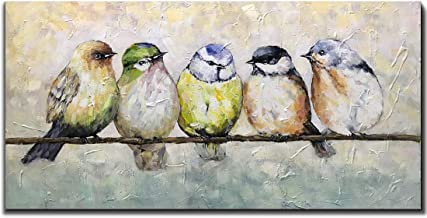 V-inspire Paintings,24x48 Inch Oil Hand Painting Five Birds on The Branch Warm Color Painting Style Home Decoration Wood Inside Framed Ready to Hang