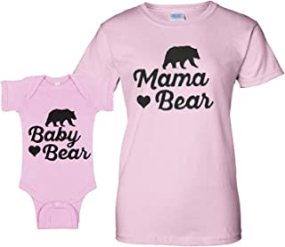 f0dd1ecf9582 Southern Designs Mama Bear Matching Baby Romper and Mother Fashion Tee Gray