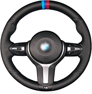 MEWANT Hand Sewing Custom Black Genuine Leather Auto Steering Wheel Cover for BMW F87 M2 2015-2017 F80 M3 2014-2017 F82 M4 M5 F12 F13 M6 F85 X5 M F86 X6 M F33 F30 M Sport