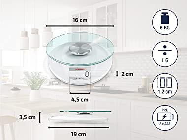 Soehnle 65847 Roma Kitchen Scale, Digital Food Scale with Display, acccurate Gram Scale for Measuring up to 5 kg, Electronic