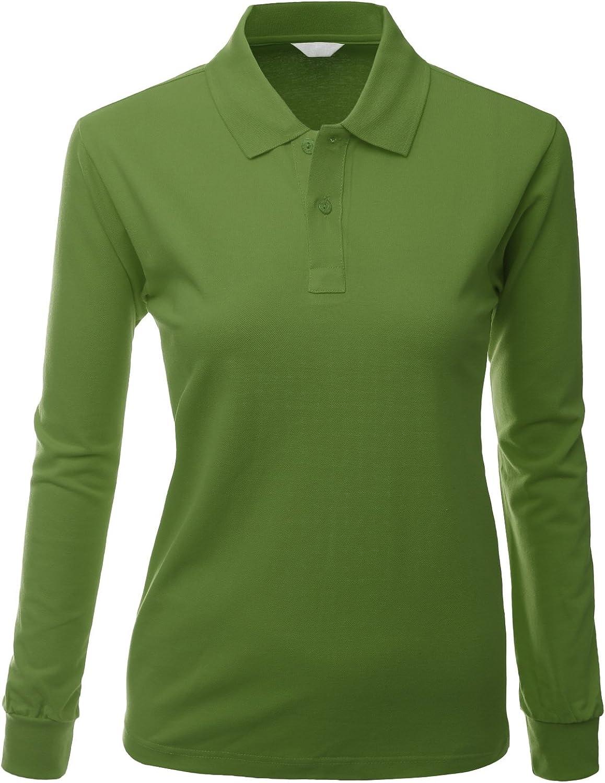 Women Cotton PK Silket Polo Dri Fit Long Sleeve Collar T Shirt OliveGreen Size 3XL